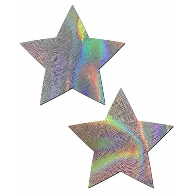 Pastease Rockstar: Silver Holographic Star Nipple Pasties