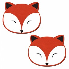 Pastease Foxy: Fox Face on Coral Denim Nipple Pasties
