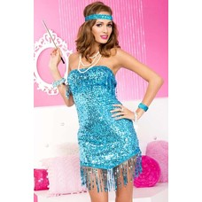 Strapless Sequined Dress, Blue