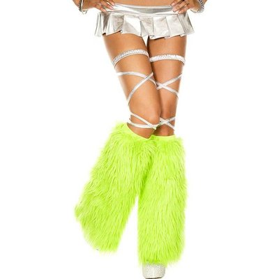 Music Legs Faux Fur Neon Green Fluffies