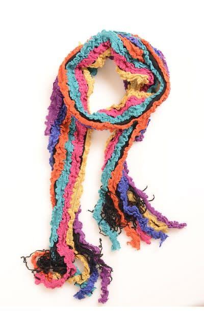 99b40d1caadb1 Multi Ruffle Knit Pink-Orange-Black Scarf - Subspace