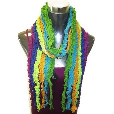 Yelete Multi Ruffle Knit Purple-Blue-Green Scarf