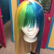 Longer Straight Cali Blonde Wig w/ Rainbow Front & Underswirl