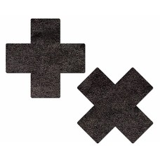 Pastease Plus X: Liquid Black Cross Nipple Pasties