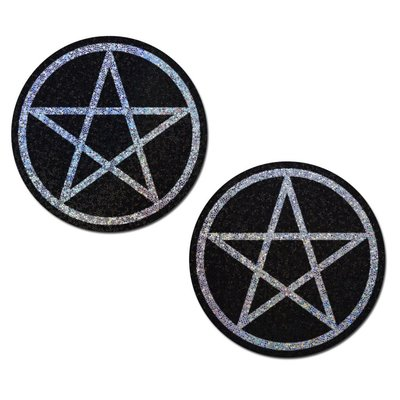 Pastease Pentagram: Black and Silver Glitter Pentagram Nipple Pasties