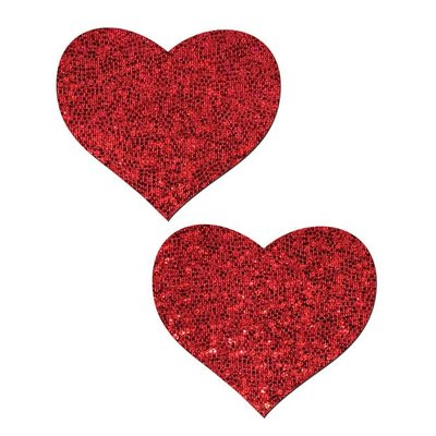 Pastease Love: Red Glitter Heart Nipple Pasties