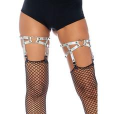 Leg Avenue Dual Strap Iridescent Studded Heart Garters