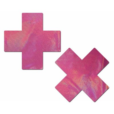 Pastease Plus X: Holographic Bubblegum Pink Cross Nipple Pasties