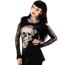 Folter Skull Top with Braided Long Sleeves