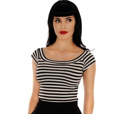 Retrolicious Black & White Striped Boat Neck Top