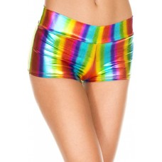 Music Legs Rainbow Metallic Booty Shorts