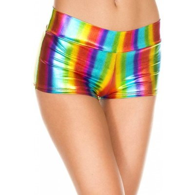 Music Legs Rainbow Metallic Booty Shorts