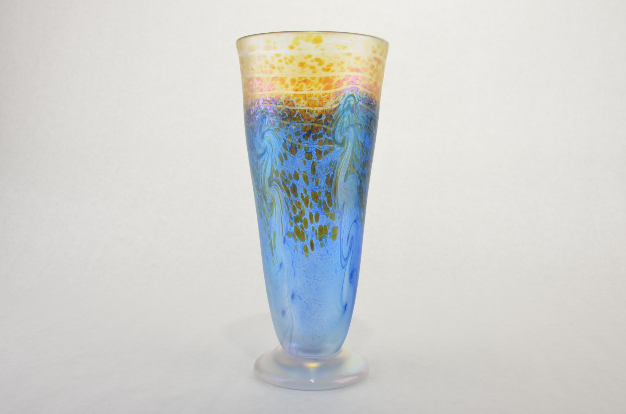 Eric Dandurand Blue & Gold Iridescent Ascension Vase