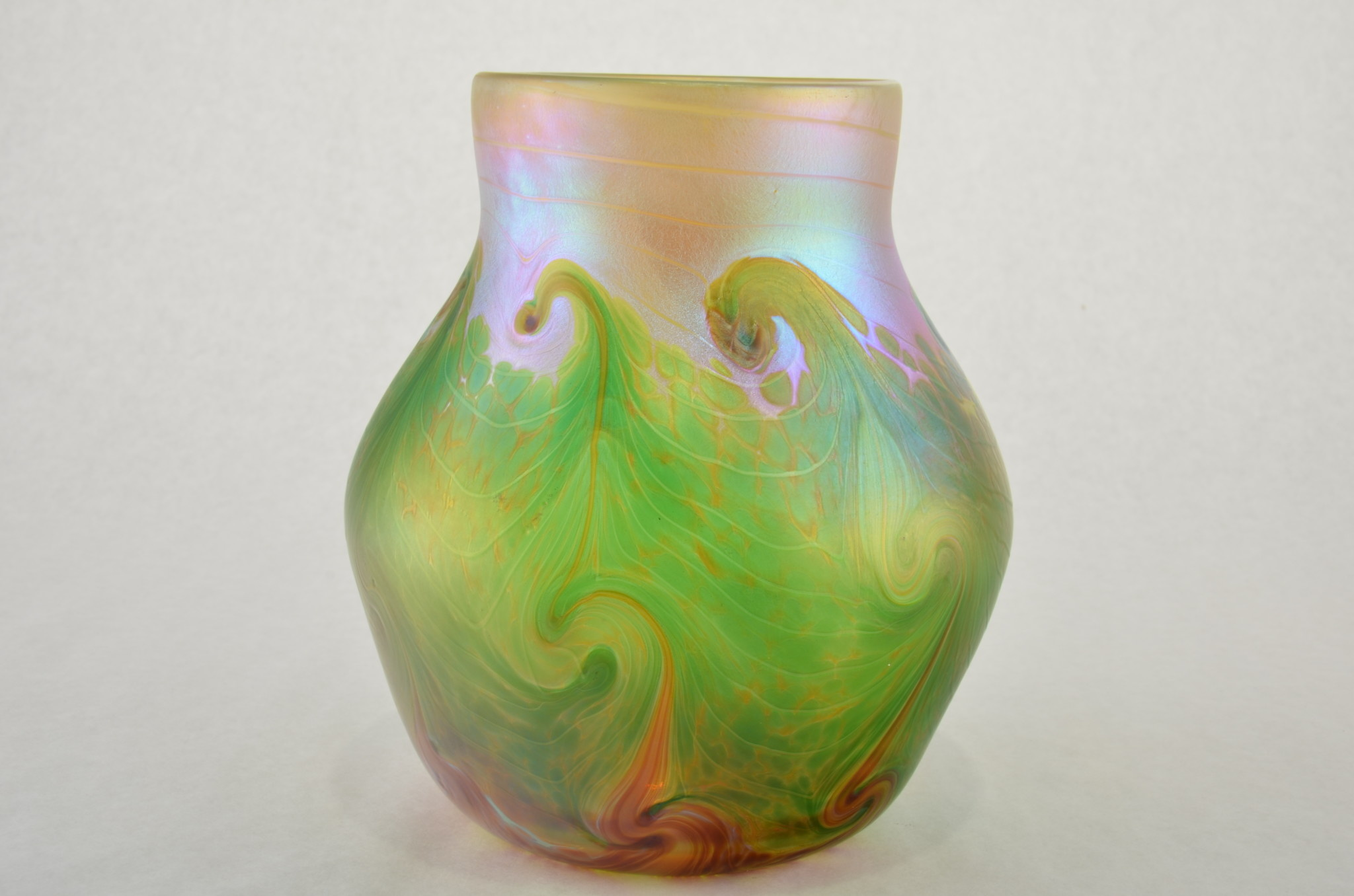 Eric Dandurand Green & Gold Iridescent Ascension Vase