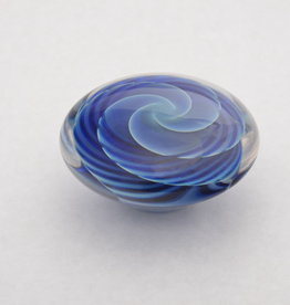Chuck Walters Silver Blue Striped Pinwheel Paperweight Disc