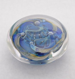 Chuck Walters Silver Blue Bubble Trap Paperweight Disc