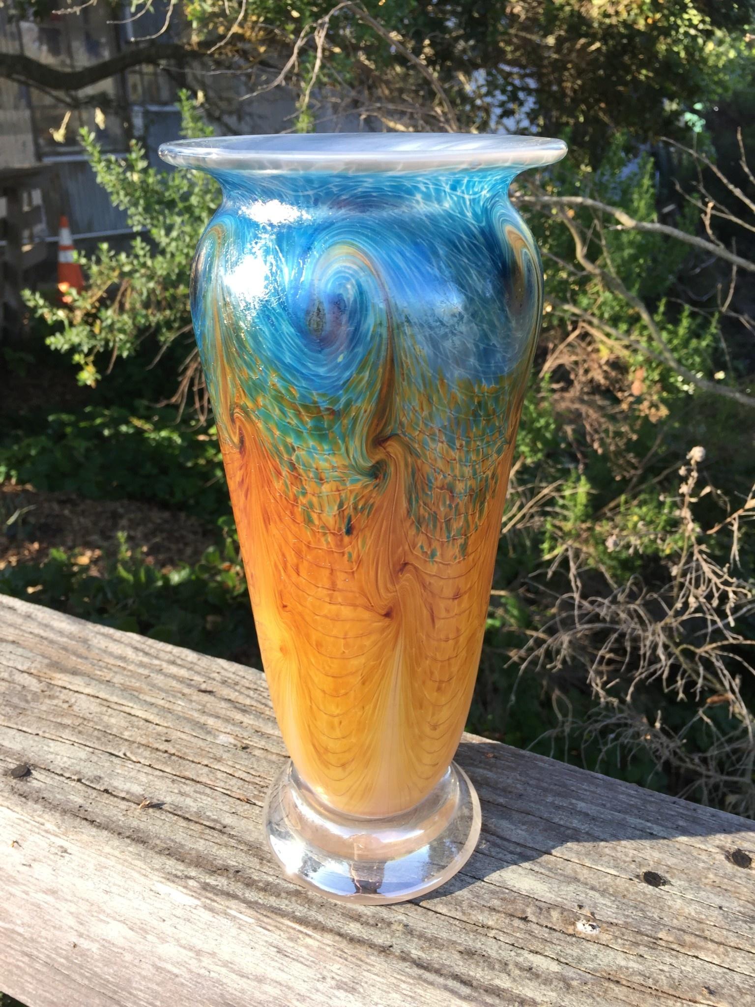 """Eric Dandurand Ascension Vase (Darker Aqua, Amber) 11"""""""