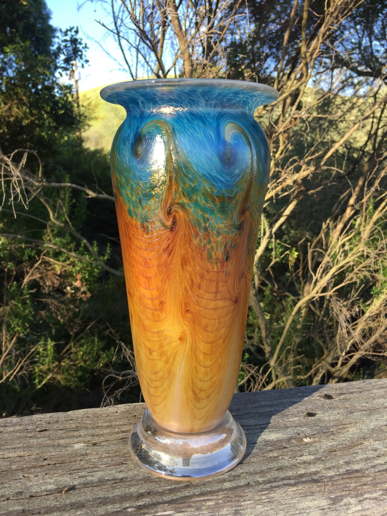 Eric Dandurand Ascension Vase (Darker Aqua, Amber) 11""