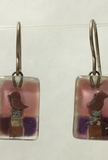 Violet Bird Drop Earrings