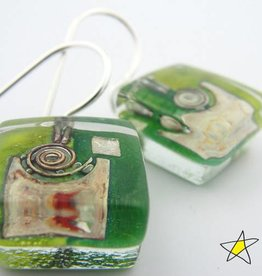 Green Garden Snail Cube Earrings