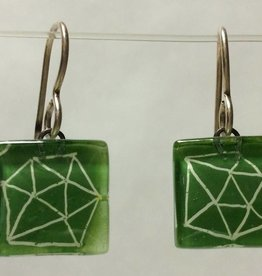 Polyhedra White Green Cube Earrings