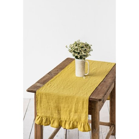 "Linen Table Runner with Ruffles, 16"" x 79"""