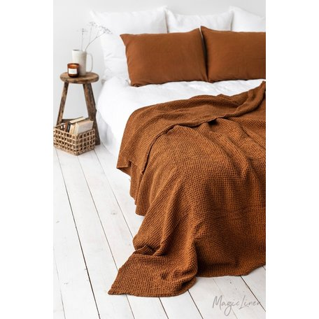 Linen-cotton Blend Waffle Blanket, Queen