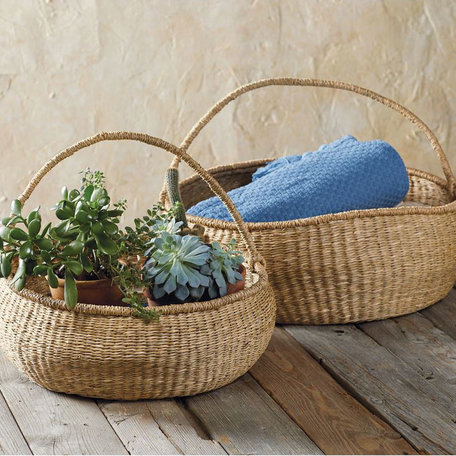 Big Round Basket with Handle, Large