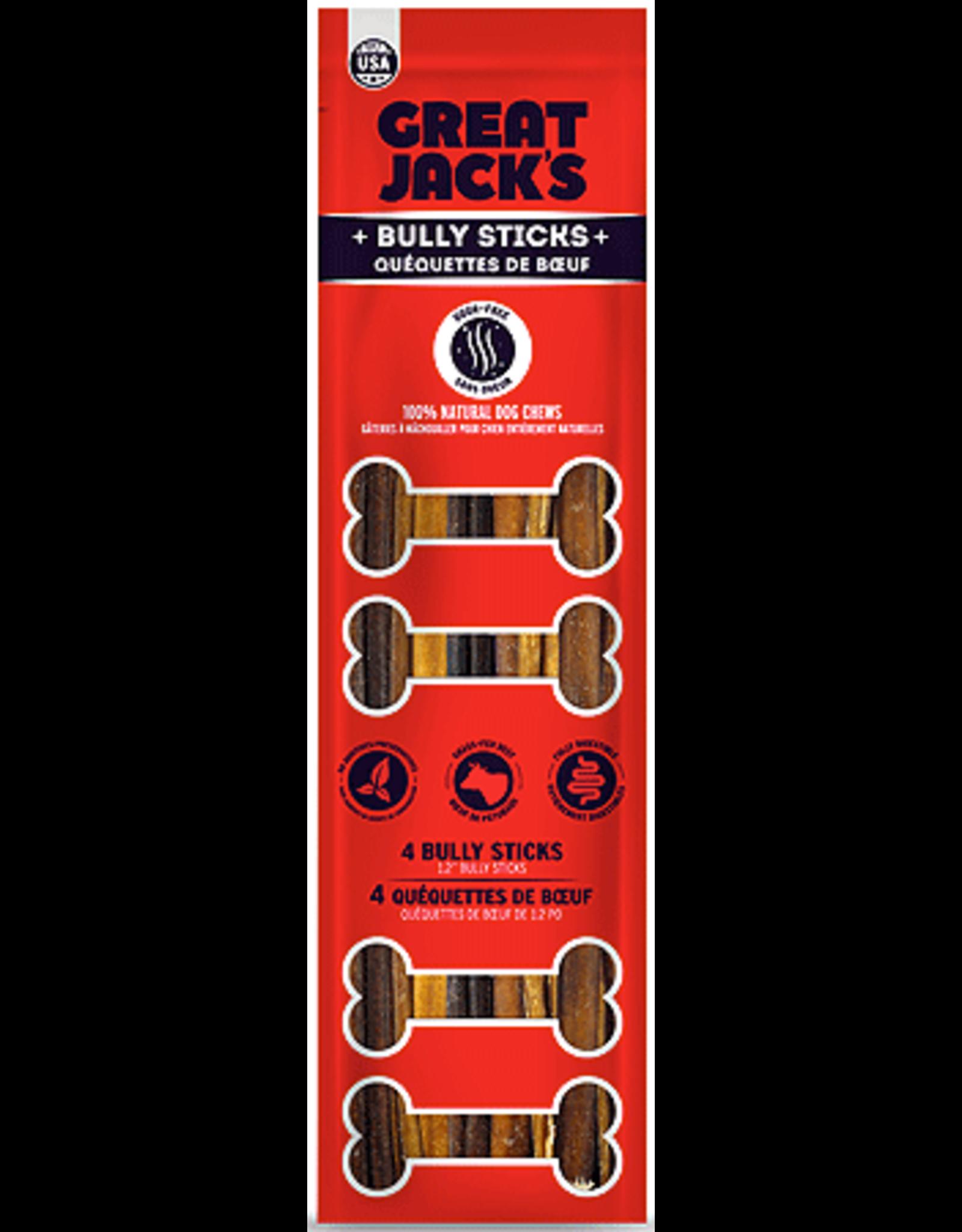"Canadian Jerky Co. GREAT JACKS Bully Sticks 12"" 4pk"