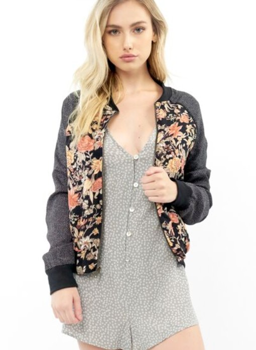 SALTWATER LUX FLORAL LINED BOMBER