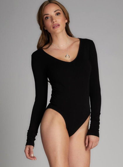 CEST MOI CLOTHING BAMBOO V NECK BODYSUIT