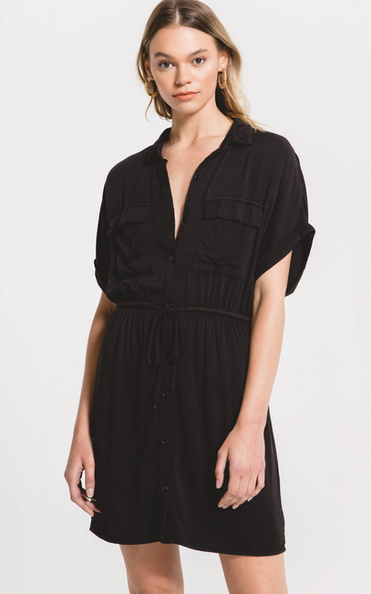 RAG POETS ADRIA DRESS WASHED BLACK