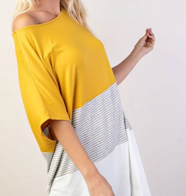 PLUS MUSTARD CONTRAST TOP