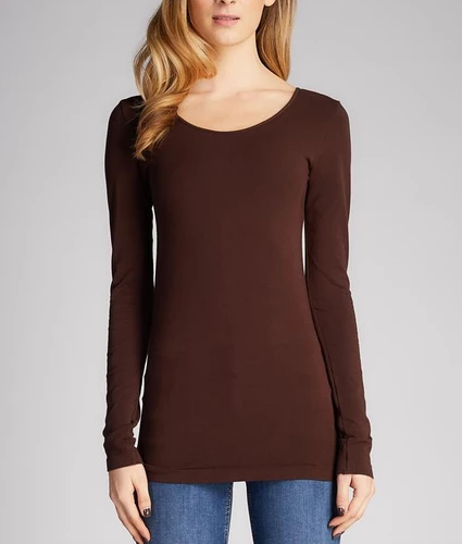 CEST MOI CLOTHING BAMBOO LONG SLEEVE SCOOP NECK