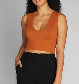 CEST MOI CLOTHING BAMBOO DEEP V RIB TOP GINGER