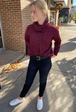 SEE U SOON CABLE KNIT SWEATER BORDEAUX