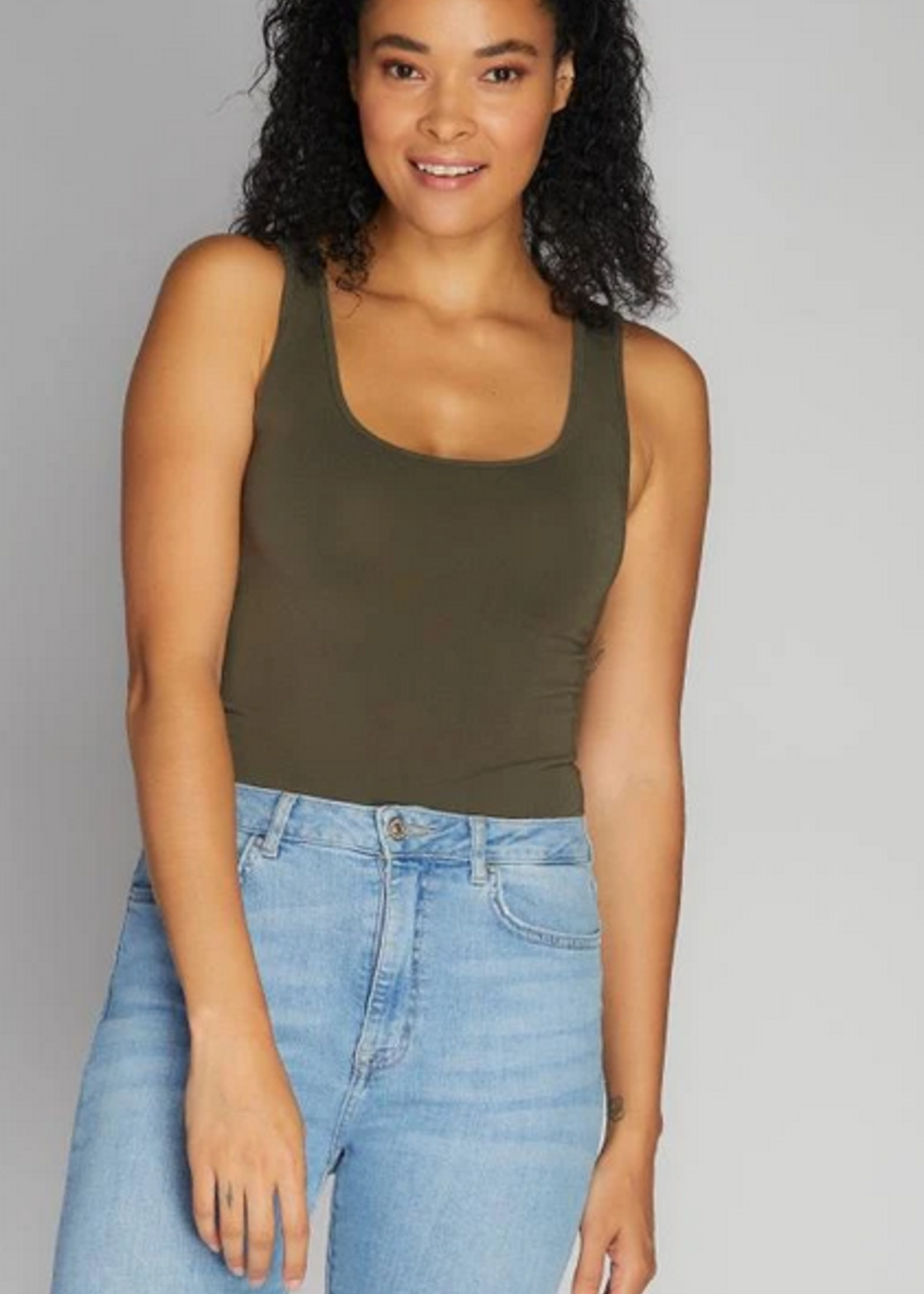 CEST MOI CLOTHING BAMBOO SHORT TANK OLIVE