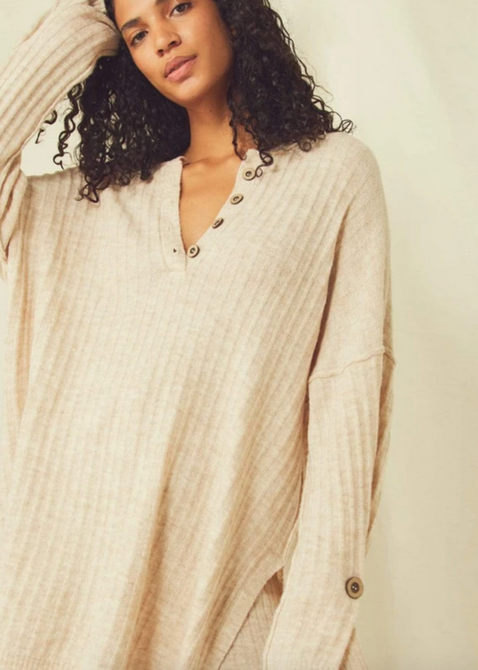 FREE PEOPLE FREE PEOPLE AROUND THE CLOCK PULLOVER OATMEAL
