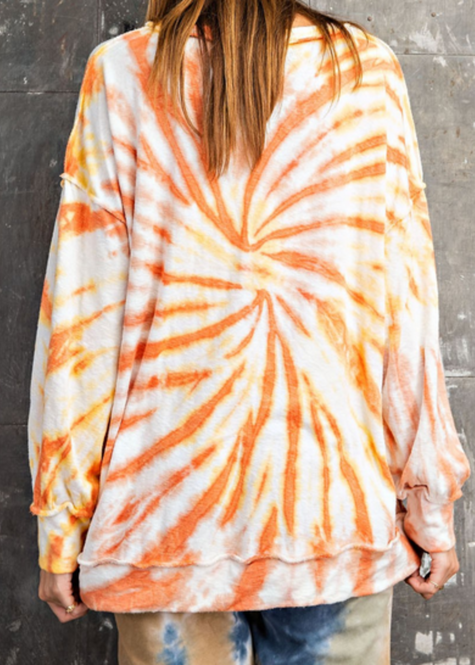 TERRY TIE DYE PULLOVER SUNSHINE YELLOW