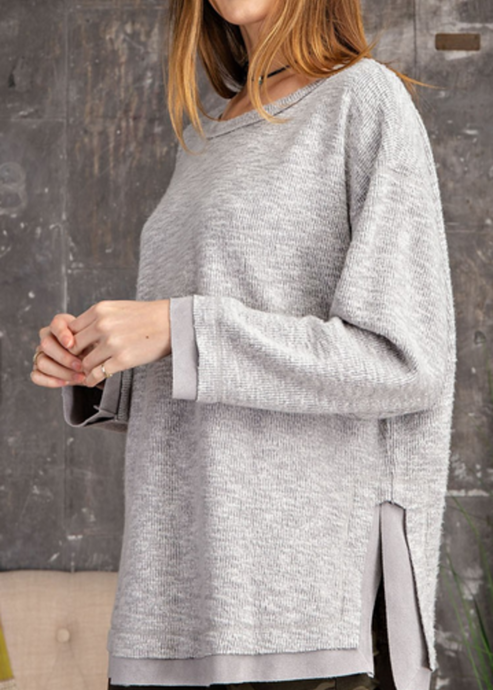 EASEL BRUSHED BOXY TUNIC TOP