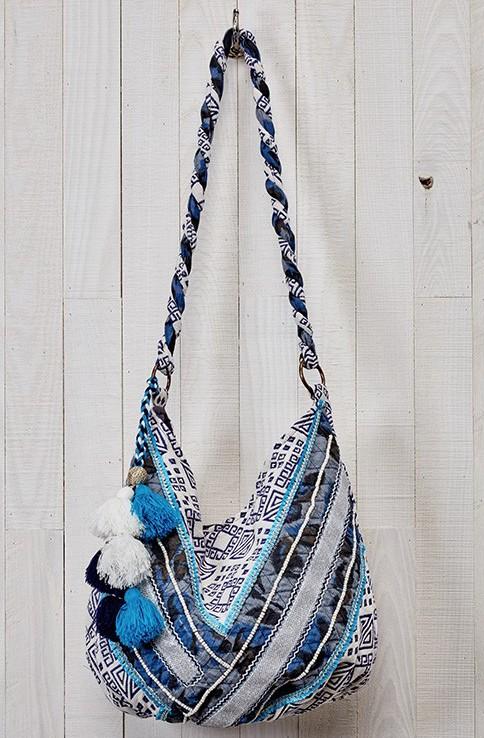 LOVE STITCH LOVE STITCH BLUE HOBO BAG