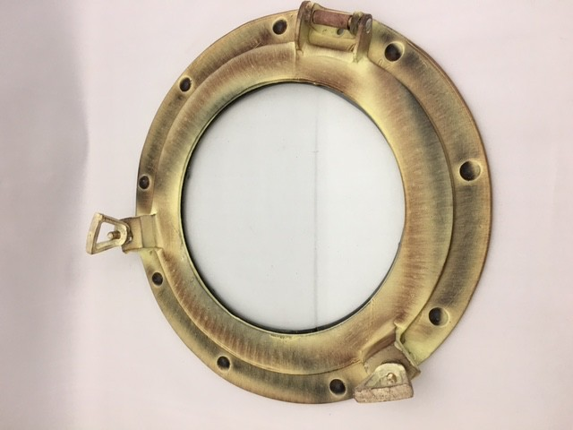 Porthole Glass Aluminum Antique 11""
