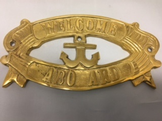 "Brass Sign ""Welcome Aboard"""