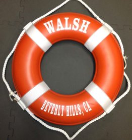 """Fenwick Float-ors Lifering 19"""" Orange (Personalized With White Lettering) (USCG Approved)"""