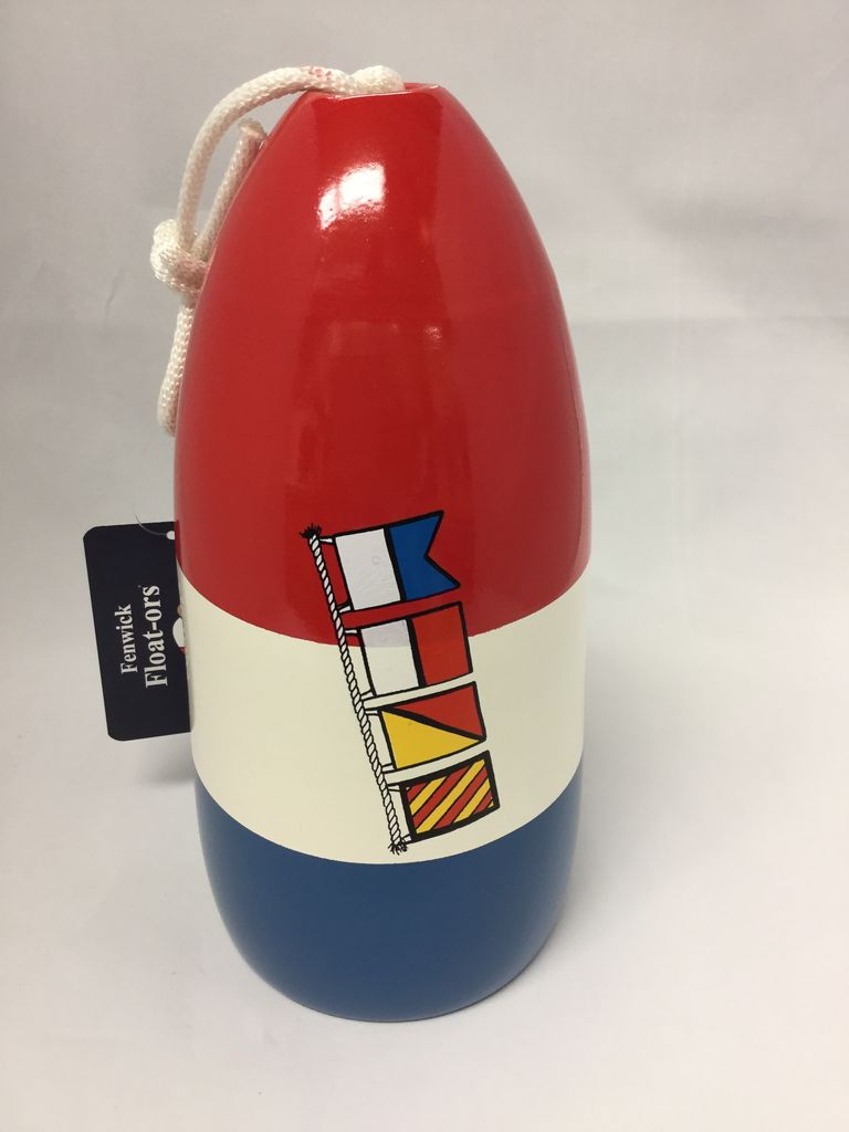 "Fenwick Float-ors Chesapeake Buoy, Nautical Flags - ""Ahoy"" Design, Red Top / White Stripe / Royal Blue Bottom  by Fenwick Float-ors"
