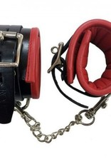 Padded Leather Wrist Cuffs Blk/Rd