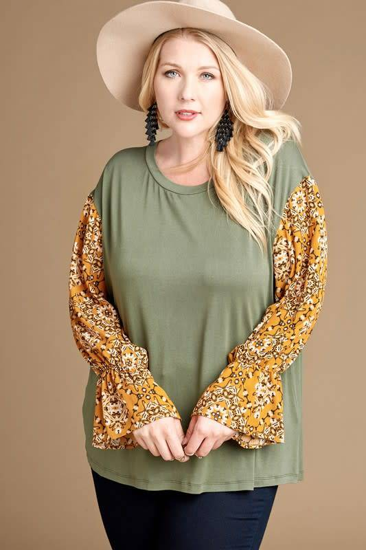 Girlie Vibes Contrast Sleeve Top -