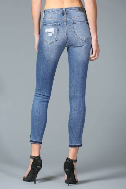 Disclosed Mid Rise Side Slit Crop Skinny -