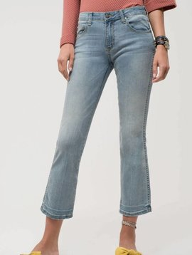 Jen Light Wash Cropped Flares -
