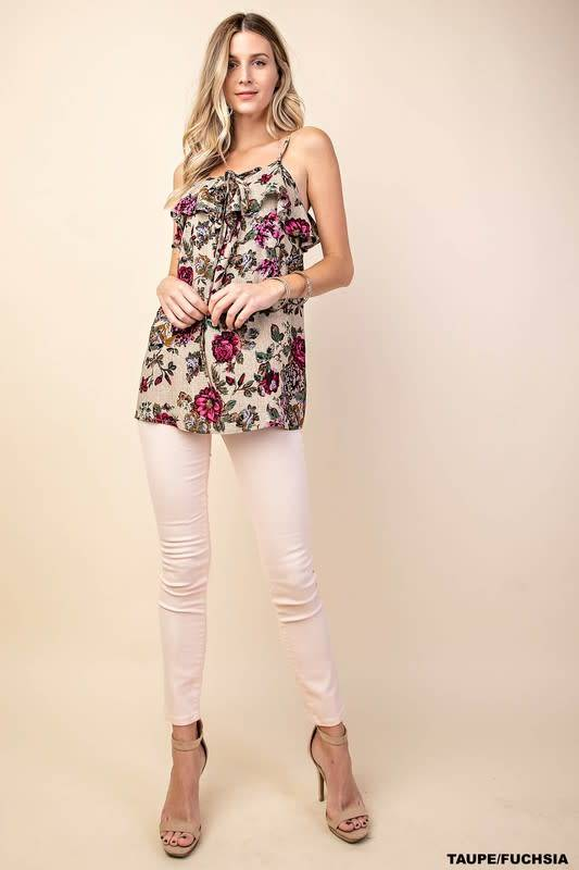 Night Out Floral Ruffle Top -